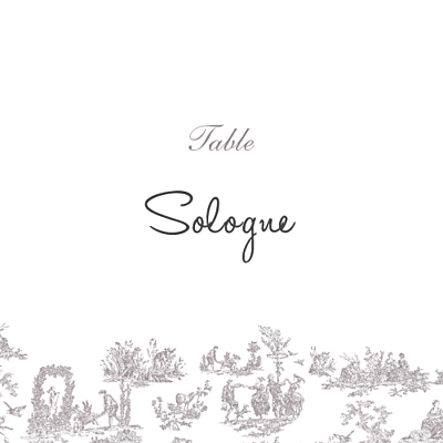 Marque-table mariage Toile de jouy taupe finition
