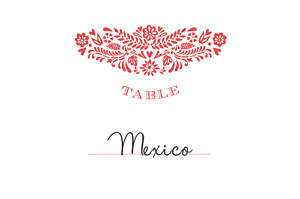 Marque-table mariage rouge papel picado corail
