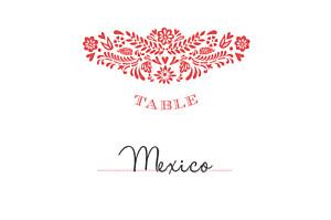 Marque-table mariage rose papel picado corail