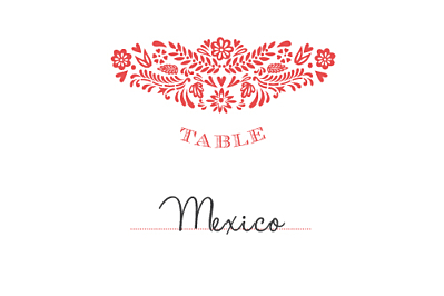 Marque-table mariage Papel picado corail finition