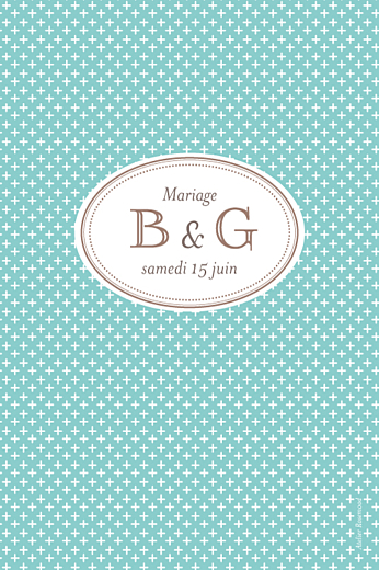 Marque-table mariage Motif chic turquoise
