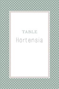 Marque-table mariage Motif chic vert de gris