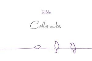Marque-table mariage violet oiseaux prune