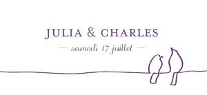 Etiquette de mariage violet oiseaux prune