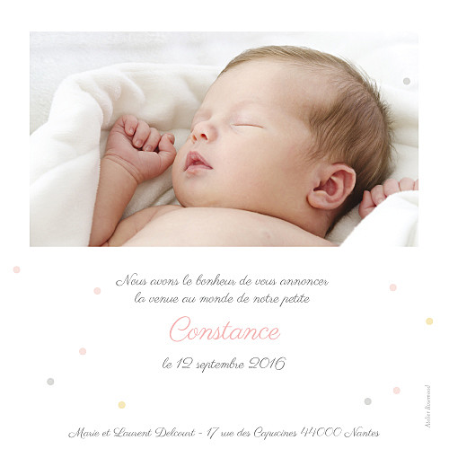 Faire-part de naissance Petit noeud photo rv rose - Page 2