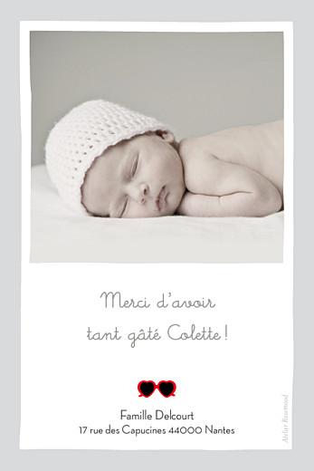 Carte de remerciement Merci chérie photo portrait gris rouge - Page 2