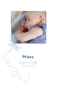 Menu de baptême Libellule photo (4 pages) bleu