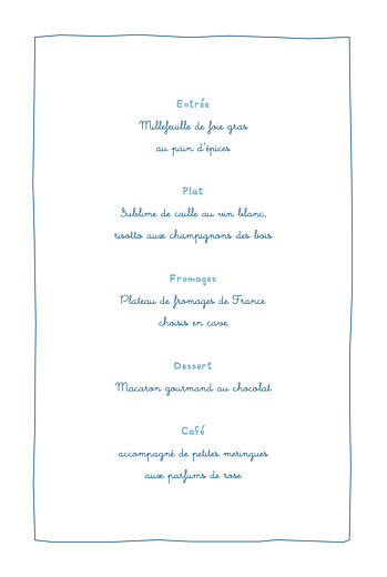 Menu de baptême Libellule photo (4 pages) bleu - Page 3