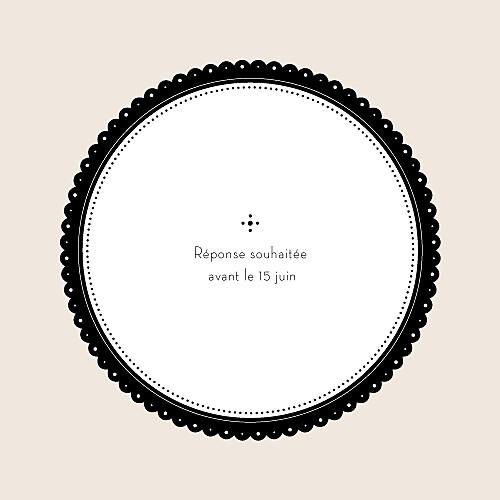 Carton réponse mariage Boudoir beige noir