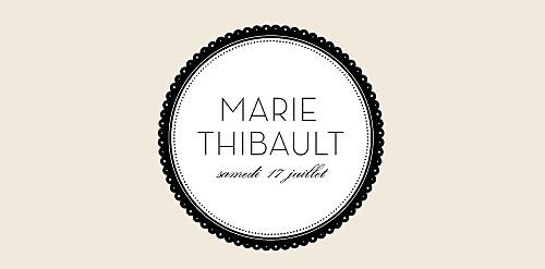 Marque-place mariage Boudoir beige noir
