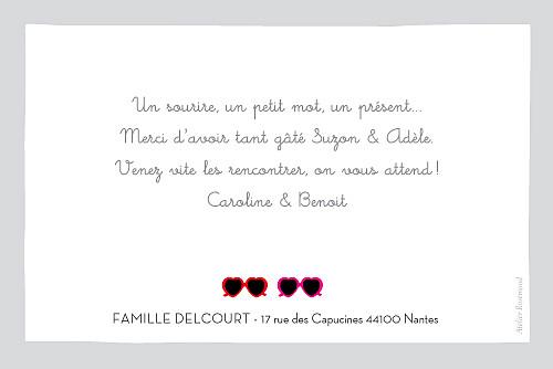 Carte de remerciement Chéries photo paysage rouge et rose - Page 2