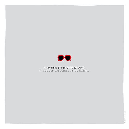 Faire-part de naissance Chérie photo (4 pages) gris rouge