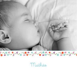 Faire-part de naissance Cueillette rv blanc bleu