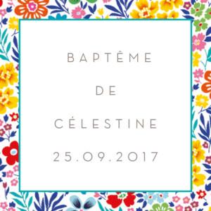 Etiquette de baptême Mille fleurs jaune & rouge