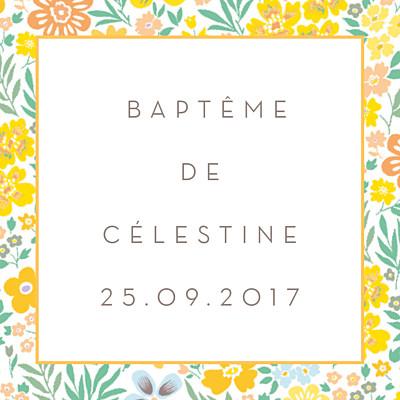 Etiquette de baptême Mille fleurs orange finition