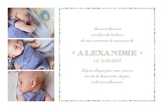 Faire-part de naissance Liseré liberty 4 photos bleu