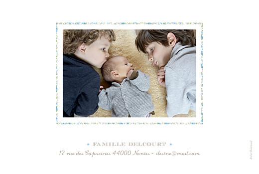 Faire-part de naissance Liseré liberty 4 photos bleu - Page 2