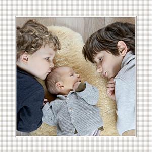 Faire-part de naissance marron vichy photo gris taupe