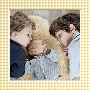 Faire-part de naissance jaune vichy photo ocre