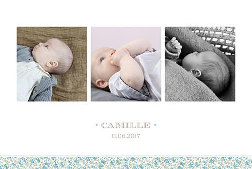 Faire-part de naissance Ruban liberty 3 photos bleu