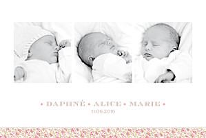 Faire-part de naissance jumeaux ruban liberty triplés rose