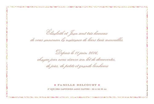 Faire-part de naissance Ruban liberty triplés rose - Page 2