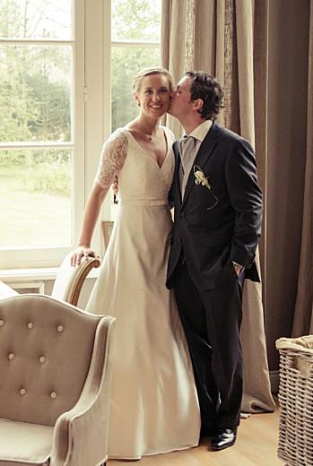 Carte de remerciement mariage Plein la vue portrait (3 photos) blanc