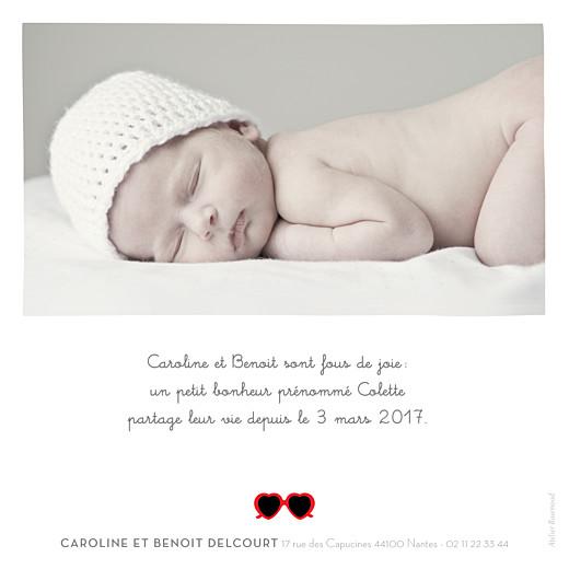 Faire-part de naissance Chérie 1 photo gris rouge