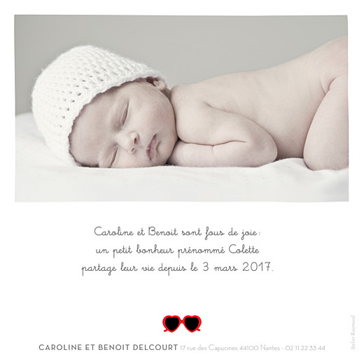 Faire-part de naissance Chérie 1 photo gris rouge - Page 2