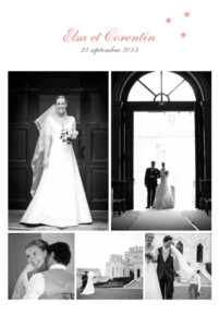 Carte de remerciement mariage Hollywood corail