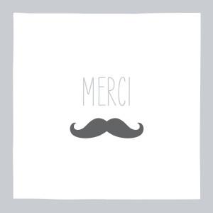 Carte de remerciement Moustache gris