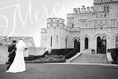 Carte de remerciement mariage Un grand merci (paysage) blanc finition