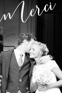 Carte de remerciement mariage Un grand merci (portrait) blanc