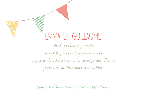 Carton d'invitation mariage Guinguette pastel