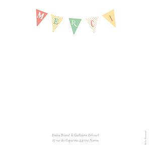 Carte de remerciement mariage champêtre guinguette 4 photos pastel
