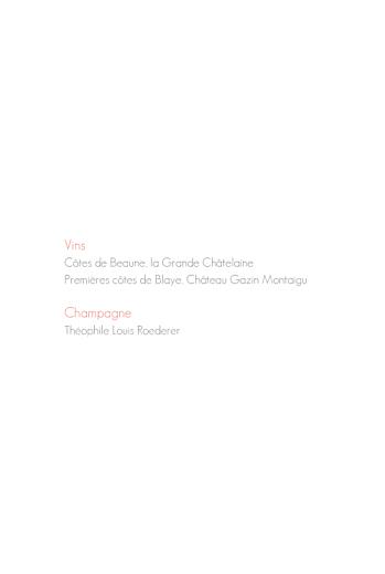 Menu de mariage Moderne photo 4 pages blanc