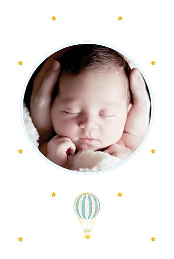 Faire-part de naissance Montgolfière bleu jaune