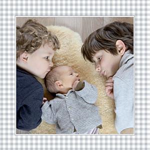 Faire-part de naissance gris vichy photo gris clair