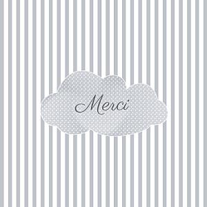 Carte de remerciement rayures merci tombe la pluie gris