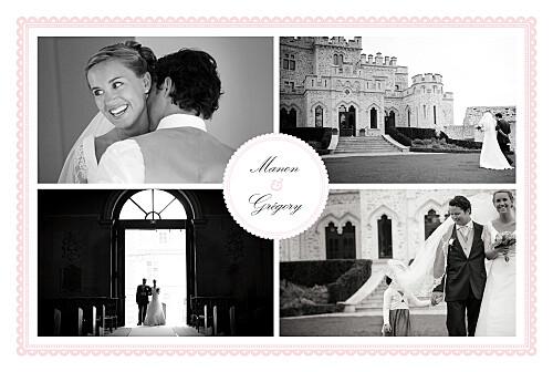 Carte de remerciement mariage Gourmand 4 photos rose