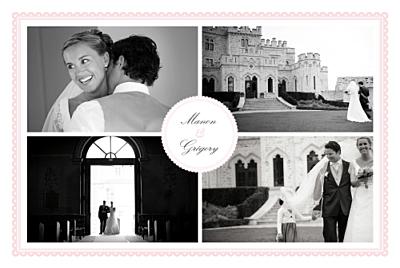 Carte de remerciement mariage Gourmand 4 photos rose finition