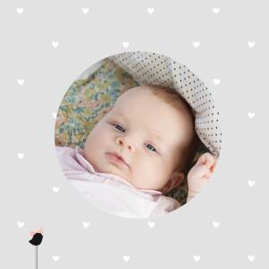 Carte de remerciement Merci bucolique photo gris rose