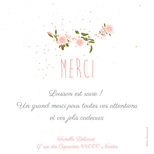 Carte de remerciement Merci bucolique photo gris rose - Page 2