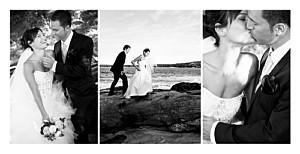 Carte de remerciement mariage original 3 photos (panoramique) blanc