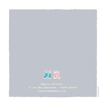 Faire-part de naissance Jumeaux balade photo fond gris & bottes bébés roses et bleues - Page 4