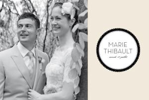 Carte de remerciement mariage Boudoir beige noir