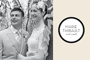 Carte de remerciement mariage noir boudoir beige noir