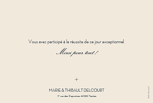 Carte de remerciement mariage Boudoir beige noir - Page 2