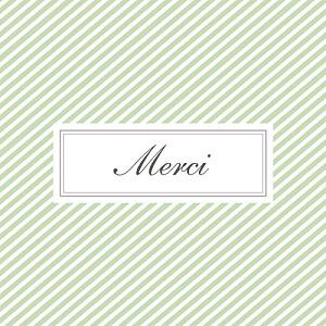 Carte de remerciement rayures merci cambridge vert