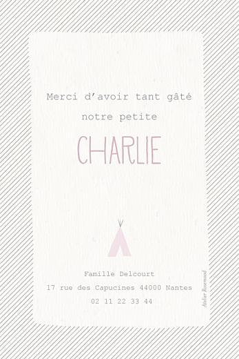 Carte de remerciement Petits tipis beige rose - Page 2